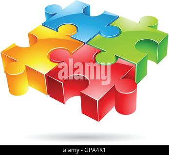 Vector illustration of glossy colorful jigsaw puzzle - Stock Photo