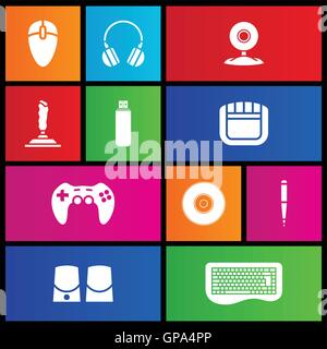 Various metro style icons of PC accessories - Stock Photo