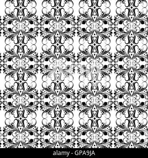 Ornamental seamless floral vector pattern with black floral elements of leaves and flowers on the white background - Stock Photo