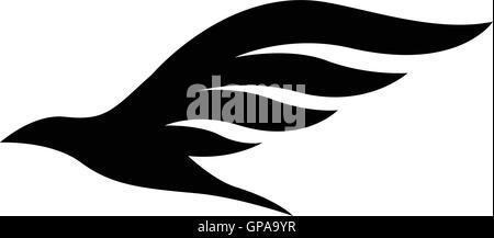 Illustration of Black Bird Icon isolated on a white background - Stock Photo
