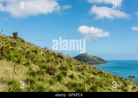 Hiking in lush green nature on South Molle Island, Whitsunday Islands, Queensland, Australia - Stock Photo