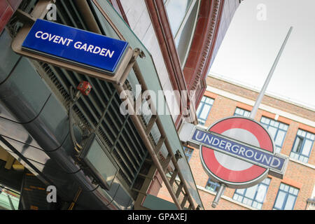 London, UK - 30 August 2016: Covent Garden station sign at the Underground station in London, England, UK. - Stock Photo