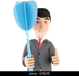 3d Illustration. Businessman with a blue dart. Business concept. Isolated white background. - Stock Photo