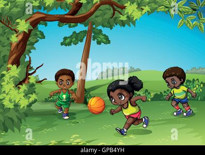 Three kids playing ball in the park illustration - Stock Photo