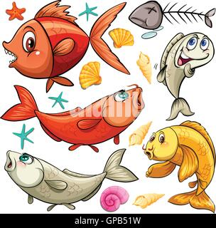 Seamless design with fish and fish bone illustration - Stock Photo