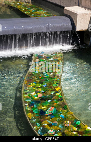 Fort Wayne, Indiana - Ribbons of broken glass in ponds at the Stock ...