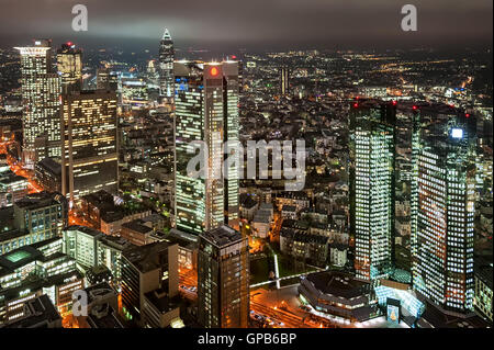 Skyscrapers in financial district of Frankfurt on Main, Germany, at night - Stock Photo