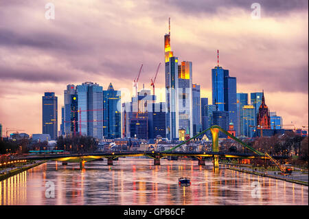 Skyline Frankfurt on Main, Germany - Stock Photo