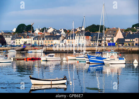 Yachts and fishermen boats in port of Concarneau, Brittany, France - Stock Photo