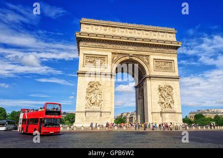 The Triumphal Arch  l'Etoile, Paris, France - Stock Photo
