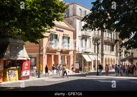 Shoppers and tourist in Corfu town, Summer, Corfu, Greece - Stock Photo