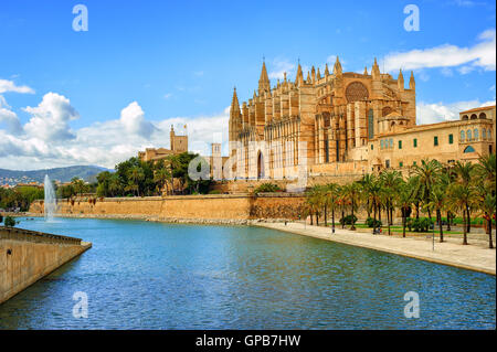 La Seu, the gothic medieval cathedral of Palma de Mallorca, Spain - Stock Photo