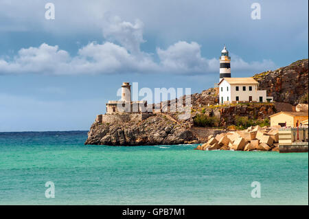 Lighthouse of Soler, Mediterranean Sea Coast, Mallorca, Spain - Stock Photo