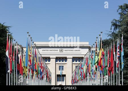 Palace of United Nations in Geneva, Switzerland. It has served as the home of the United Nations Office at Geneva - Stock Photo