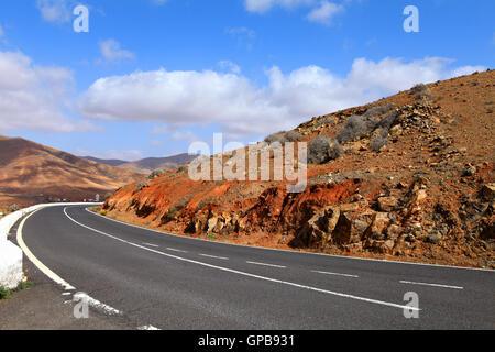 Road in Fuerteventura.Canary Islands,Spain. - Stock Photo