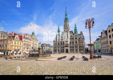 The town hall and the central square in Liberec, Czech Republic - Stock Photo