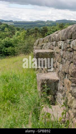 Stile over dry stone wall, Derbyshire, England, UK - Stock Photo