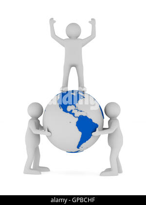 people and globe on white background. Isolated 3D image - Stock Photo