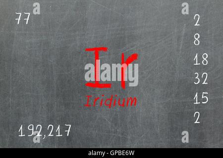 Isolated blackboard with periodic table, Iridium - Stock Photo