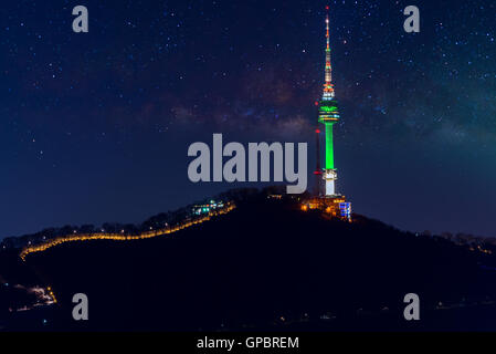 Seoul tower and Milky Way Galaxy in Seoul, South Korea - Stock Photo