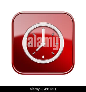 Clock icon glossy red, isolated on white background - Stock Photo