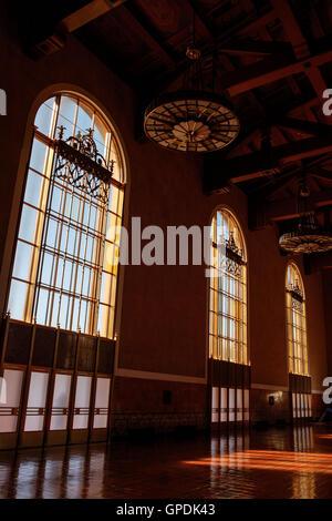 Interior of Union Station, Los Angeles, California, United States of America - Stock Photo