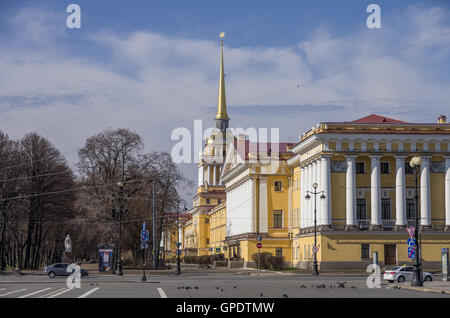 View of Admiralty building in Saint Petersburg from Palace (Dvortsovaya) square, Russia. - Stock Photo