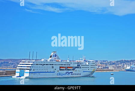 ferry boat  of Algerie Ferries company entering in the Grand Port Maritime Marseille Bouches-du-Rhone France - Stock Photo