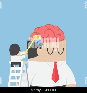Businessman wash and clean the brain of his colleague, brainwashing, Clear your mind concept - Stock Photo