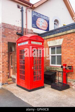 Red Post Office telephone box Severn Valley Railway Bridgnorth UK - Stock Photo