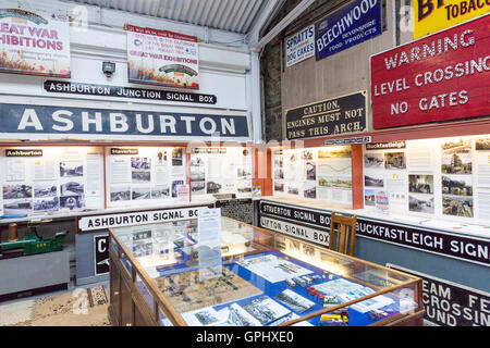 Vintage signs in the museum at Buckfastleigh station on the South Devon Railway, England, UK - Stock Photo
