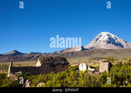 Sajama house in the Andes - Stock Photo