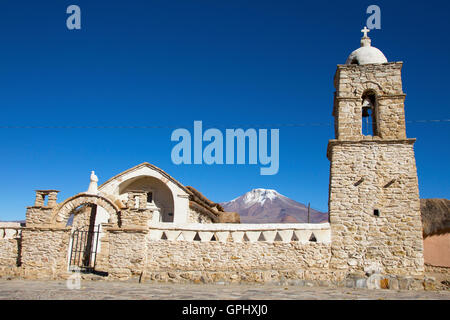 Sajama church in the Andes - Stock Photo