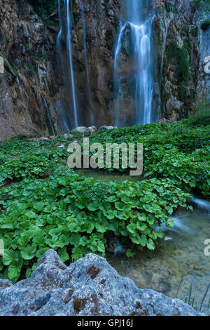 Veliki Slap Waterfall main part in Plitvice Lakes National Park, Croatia - Stock Photo