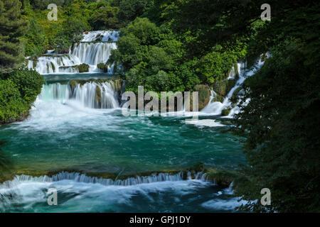 The upper cascade of Skradinski buk waterfall in Krka National Park, Croatia - Stock Photo