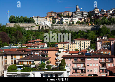 View to Bergamo upper town from the roof of lower town building - Stock Photo