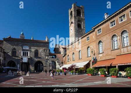 Piazza Vecchia in the Upper Town of Bergamo in Lombardia, Italy - Stock Photo