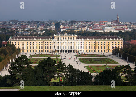 View to Schönbrunn Palace from Gloriette with Vienna in the background - Stock Photo