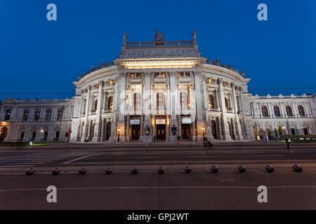 Burgtheater in the evening in Vienna, Austria - Stock Photo