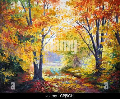 oil painting on canvas - autumn forest, abstract, season, modern - Stock Photo