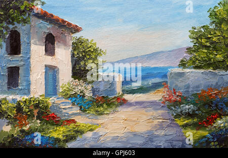 Oil Painting House Near The Sea Summer Day Stock Photo Royalty Free Image 74633446 Alamy