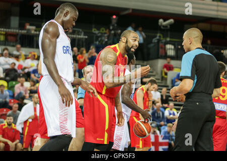 London, UK. 3rd. September, 2016. Macedonia player no 24, Travis in discussion with the referee. Team GB play Macedonia - Stock Photo