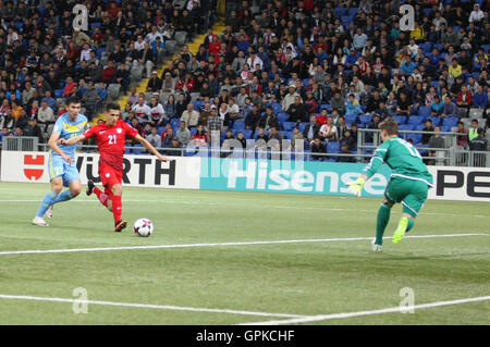 Astana, Kazakhstan. 4th September, 2016. Bartosz Kapustka (POL) scores for Poland. Kazakhstan versus Poland, FIFA World Cup 2018 qualifier. The game ended in a 2-2 draw Credit:  Action Plus Sports Images/Alamy Live News