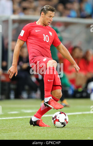 Astana, Kazakhstan. 4th September, 2016. Grzegorz Krychowiak (POL), Kazakhstan versus Poland, FIFA World Cup 2018 qualifier. The game ended in a 2-2 draw Credit:  Action Plus Sports Images/Alamy Live News