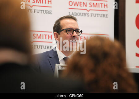 Westminster,  London, UK - 05 Sep 2016 - Labour leadership candidate Owen Smith warns of Britain facing a bleak - Stock Photo