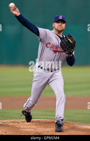 April 23, 2010; Oakland, CA, USA;  Cleveland Indians starting pitcher Jake Westbrook (37) during the first inning - Stock Photo