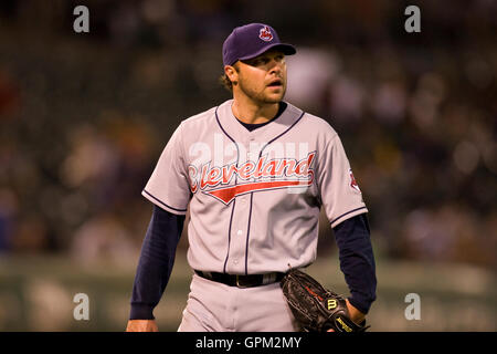 April 23, 2010; Oakland, CA, USA;  Cleveland Indians starting pitcher Jake Westbrook (37) during the fourth inning - Stock Photo