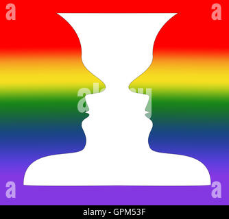 Optical illusion  A rainbow vase or  two people facing each other - Stock Photo