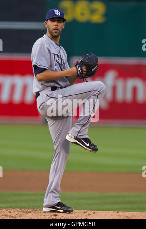 May 7, 2010; Oakland, CA, USA;  Tampa Bay Rays starting pitcher David Price (14) during the first inning against - Stock Photo