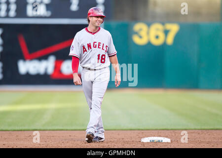 June 9, 2010; Oakland, CA, USA;  Los Angeles Angels third baseman Kevin Frandsen (18) during the third inning against - Stock Photo